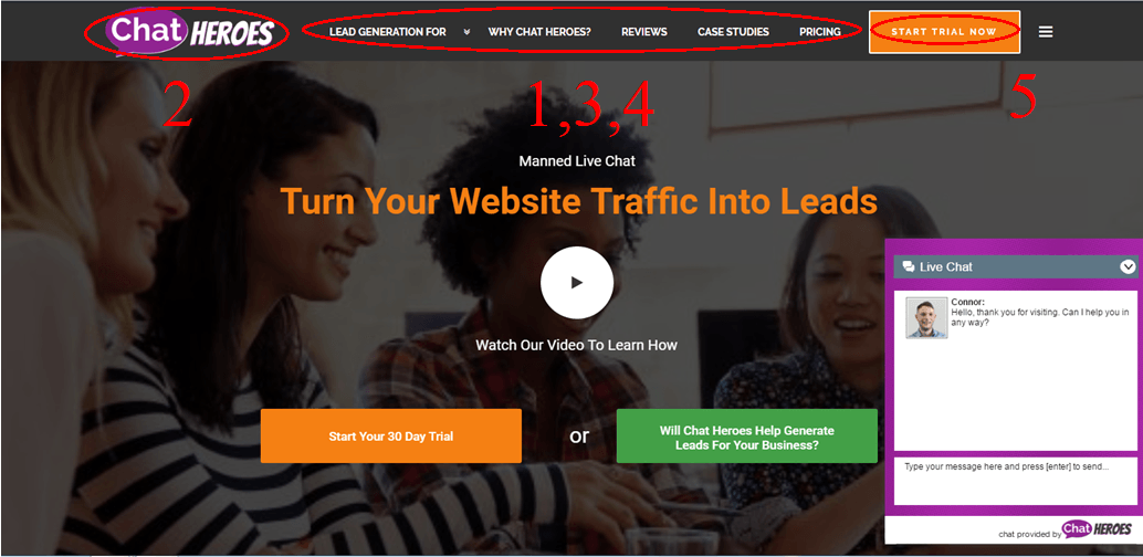 Snip of website